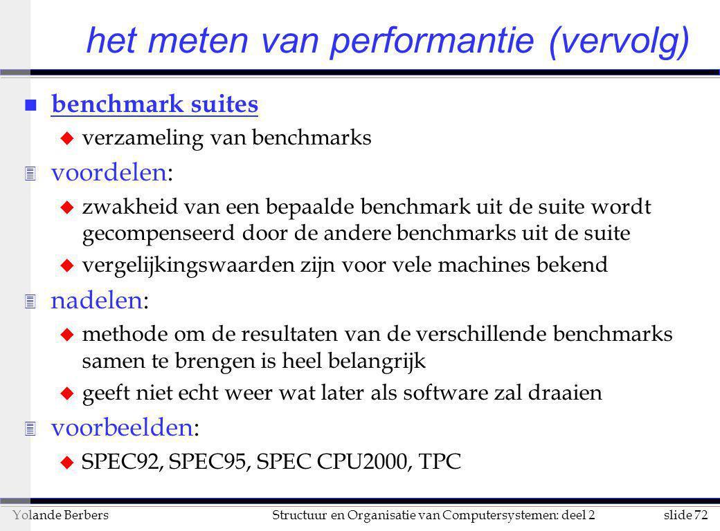 slide 72Structuur en Organisatie van Computersystemen: deel 2Yolande Berbers het meten van performantie (vervolg) n benchmark suites u verzameling van