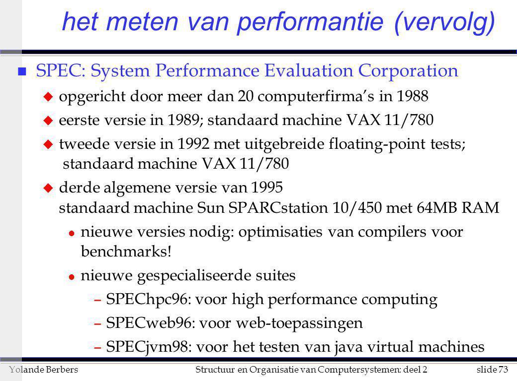 slide 73Structuur en Organisatie van Computersystemen: deel 2Yolande Berbers het meten van performantie (vervolg) n SPEC: System Performance Evaluatio