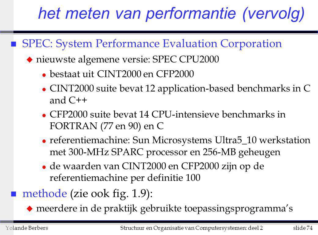 slide 74Structuur en Organisatie van Computersystemen: deel 2Yolande Berbers het meten van performantie (vervolg) n SPEC: System Performance Evaluatio