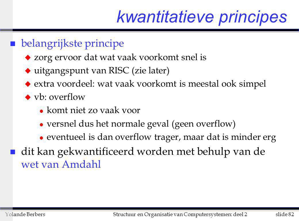 slide 82Structuur en Organisatie van Computersystemen: deel 2Yolande Berbers kwantitatieve principes n belangrijkste principe u zorg ervoor dat wat va