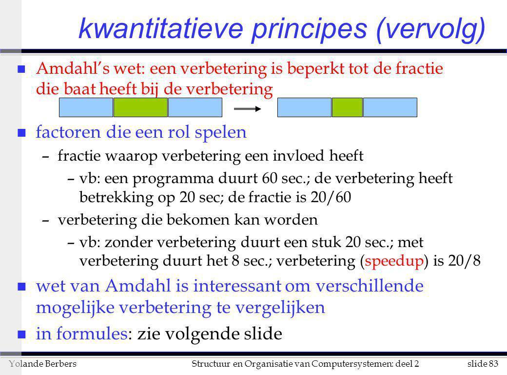 slide 83Structuur en Organisatie van Computersystemen: deel 2Yolande Berbers kwantitatieve principes (vervolg) n Amdahl's wet: een verbetering is bepe
