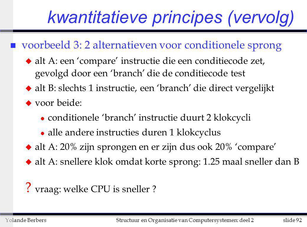slide 92Structuur en Organisatie van Computersystemen: deel 2Yolande Berbers kwantitatieve principes (vervolg) n voorbeeld 3: 2 alternatieven voor con