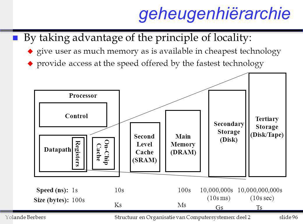 slide 96Structuur en Organisatie van Computersystemen: deel 2Yolande Berbers n By taking advantage of the principle of locality: u give user as much m
