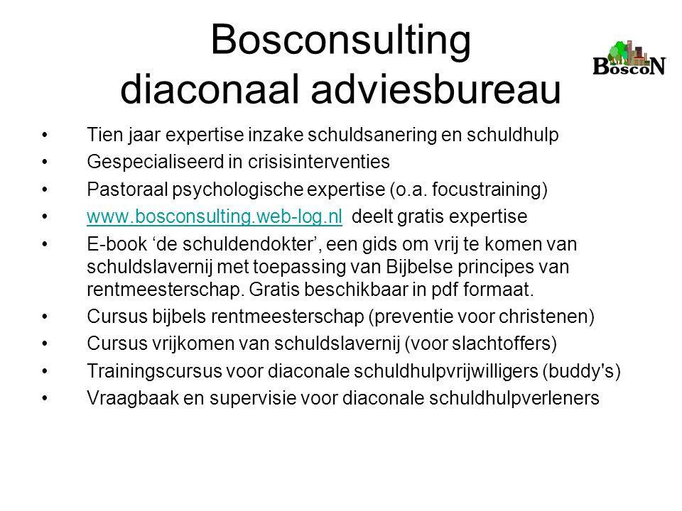 Bosconsulting diaconaal adviesbureau Tien jaar expertise inzake schuldsanering en schuldhulp Gespecialiseerd in crisisinterventies Pastoraal psycholog