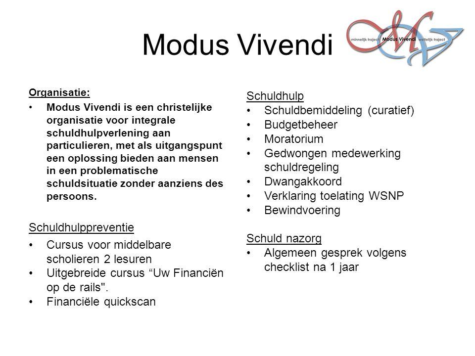Modus Vivendi Organisatie: Modus Vivendi is een christelijke organisatie voor integrale schuldhulpverlening aan particulieren, met als uitgangspunt ee