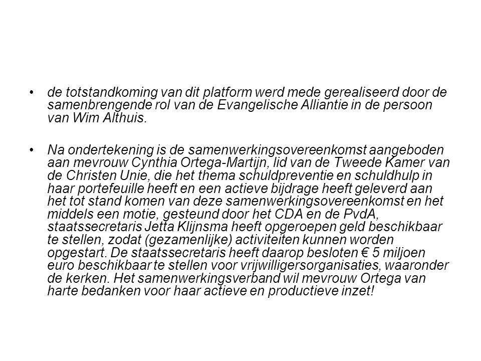 de totstandkoming van dit platform werd mede gerealiseerd door de samenbrengende rol van de Evangelische Alliantie in de persoon van Wim Althuis. Na o