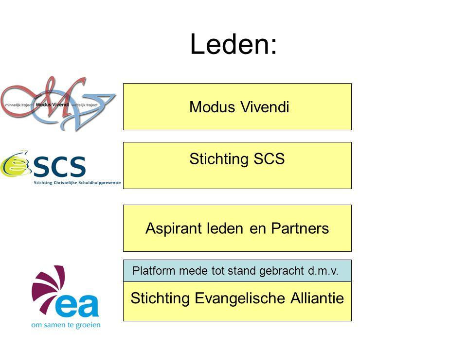 Leden: Modus Vivendi Stichting SCS Aspirant leden en Partners Stichting Evangelische Alliantie Platform mede tot stand gebracht d.m.v.