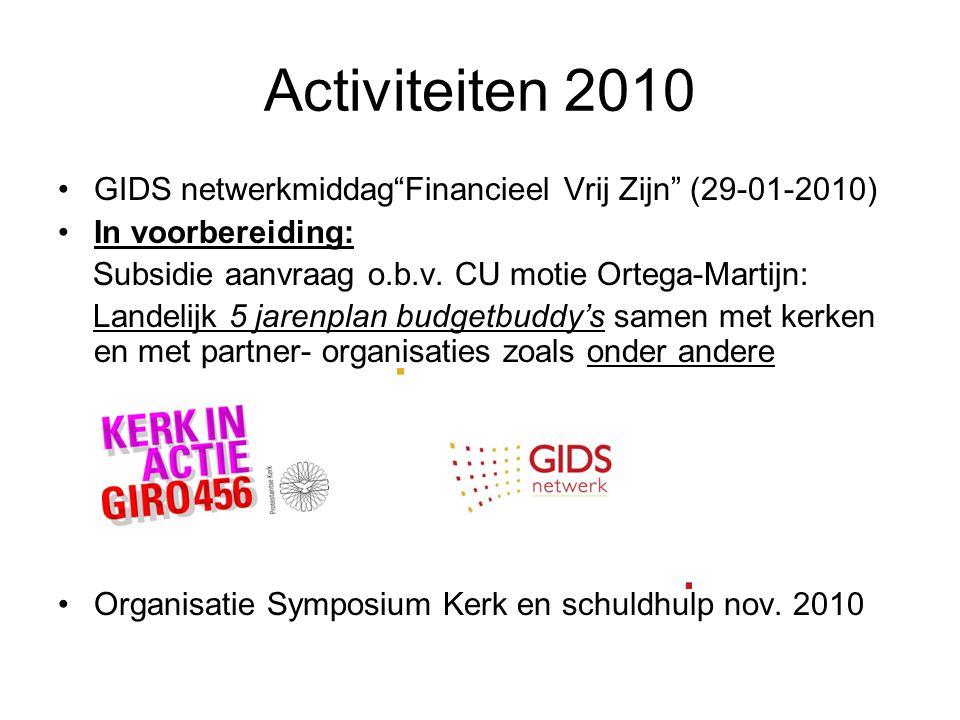"""Activiteiten 2010 GIDS netwerkmiddag""""Financieel Vrij Zijn"""" (29-01-2010) In voorbereiding: Subsidie aanvraag o.b.v. CU motie Ortega-Martijn: Landelijk"""
