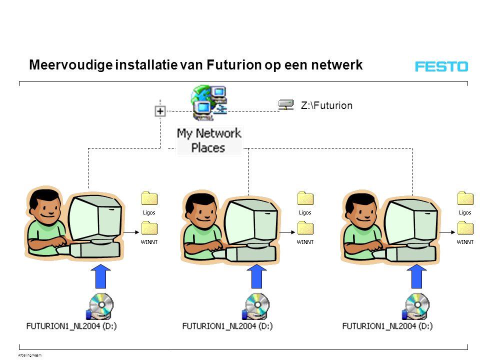 Afdeling/Naam Meervoudige installatie van Futurion op een netwerk Z:\Futurion