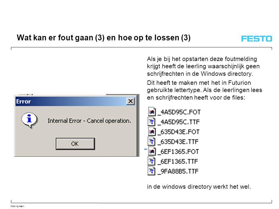 Afdeling/Naam Wat kan er fout gaan (3) en hoe op te lossen (3) Als je bij het opstarten deze foutmelding krijgt heeft de leerling waarschijnlijk geen schrijfrechten in de Windows directory.