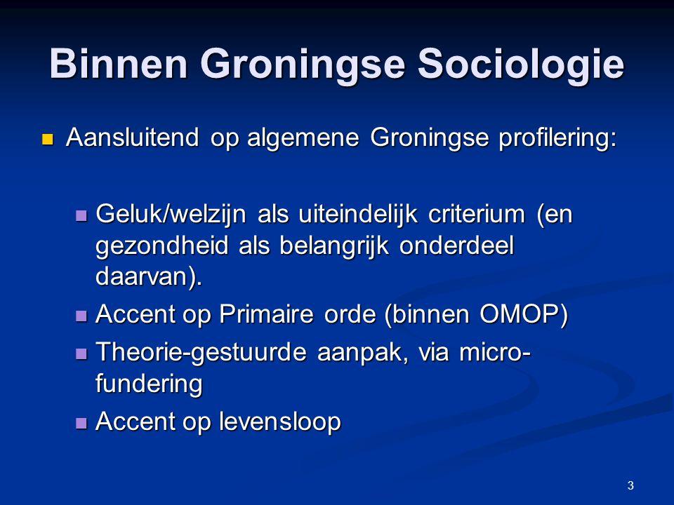 3 Binnen Groningse Sociologie Aansluitend op algemene Groningse profilering: Aansluitend op algemene Groningse profilering: Geluk/welzijn als uiteinde