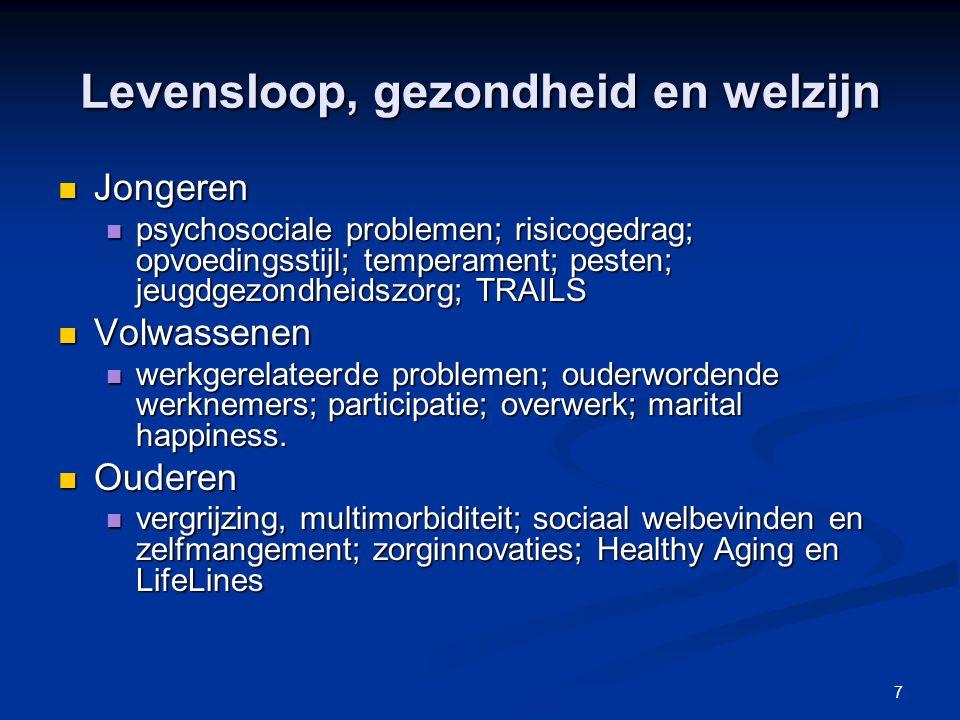 7 Levensloop, gezondheid en welzijn Jongeren Jongeren psychosociale problemen; risicogedrag; opvoedingsstijl; temperament; pesten; jeugdgezondheidszor