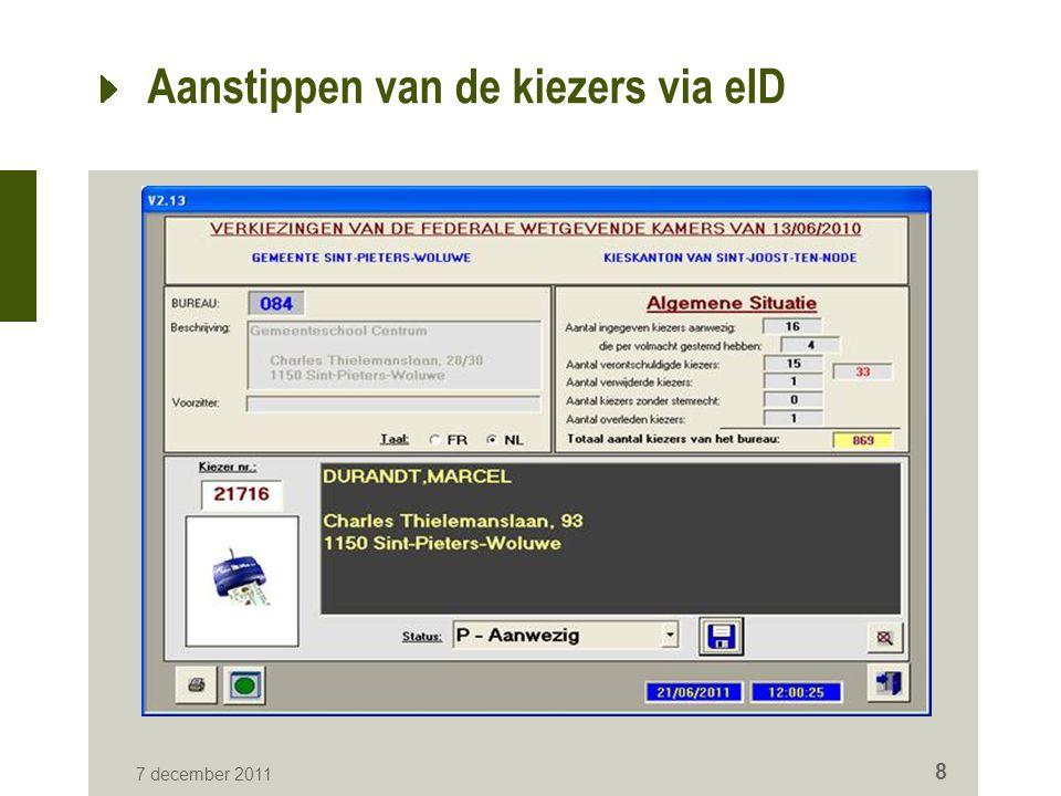 Aanstippen van de kiezers via eID 7 december 2011 8