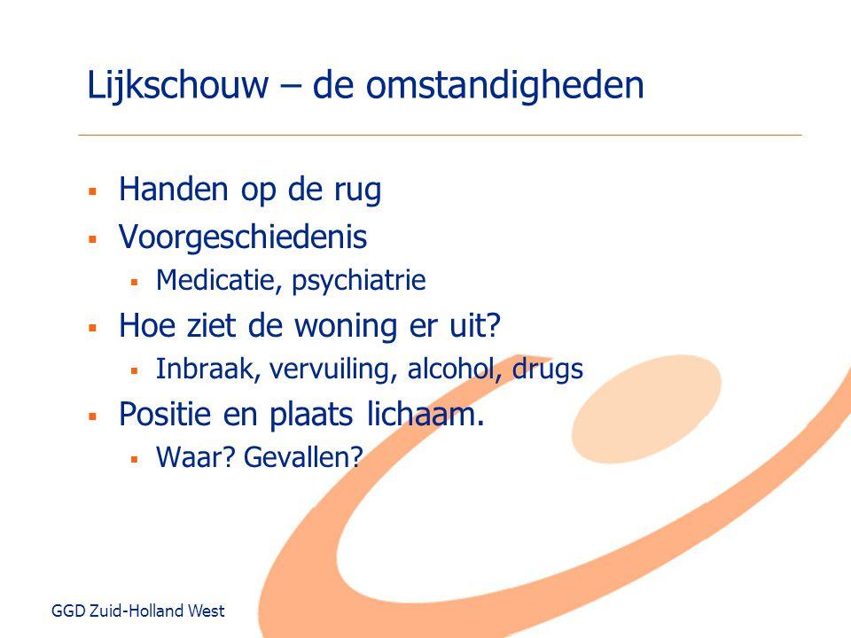 GGD Zuid-Holland West Lijkschouw – de omstandigheden  Handen op de rug  Voorgeschiedenis  Medicatie, psychiatrie  Hoe ziet de woning er uit?  Inb