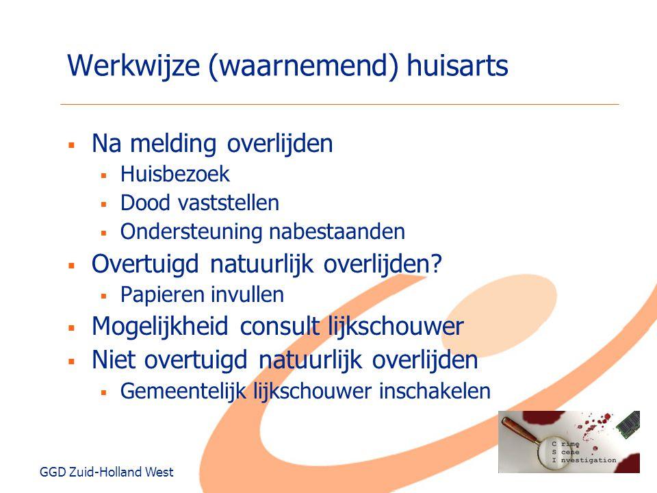 GGD Zuid-Holland West Werkwijze (waarnemend) huisarts  Na melding overlijden  Huisbezoek  Dood vaststellen  Ondersteuning nabestaanden  Overtuigd