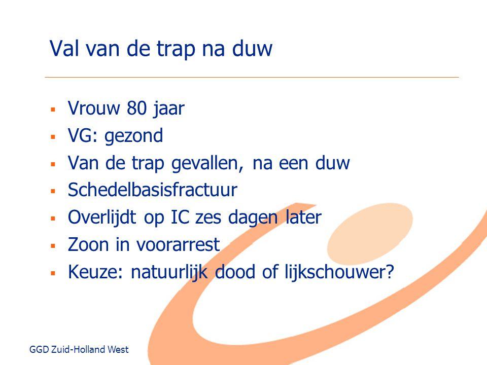 GGD Zuid-Holland West Val van de trap na duw  Vrouw 80 jaar  VG: gezond  Van de trap gevallen, na een duw  Schedelbasisfractuur  Overlijdt op IC