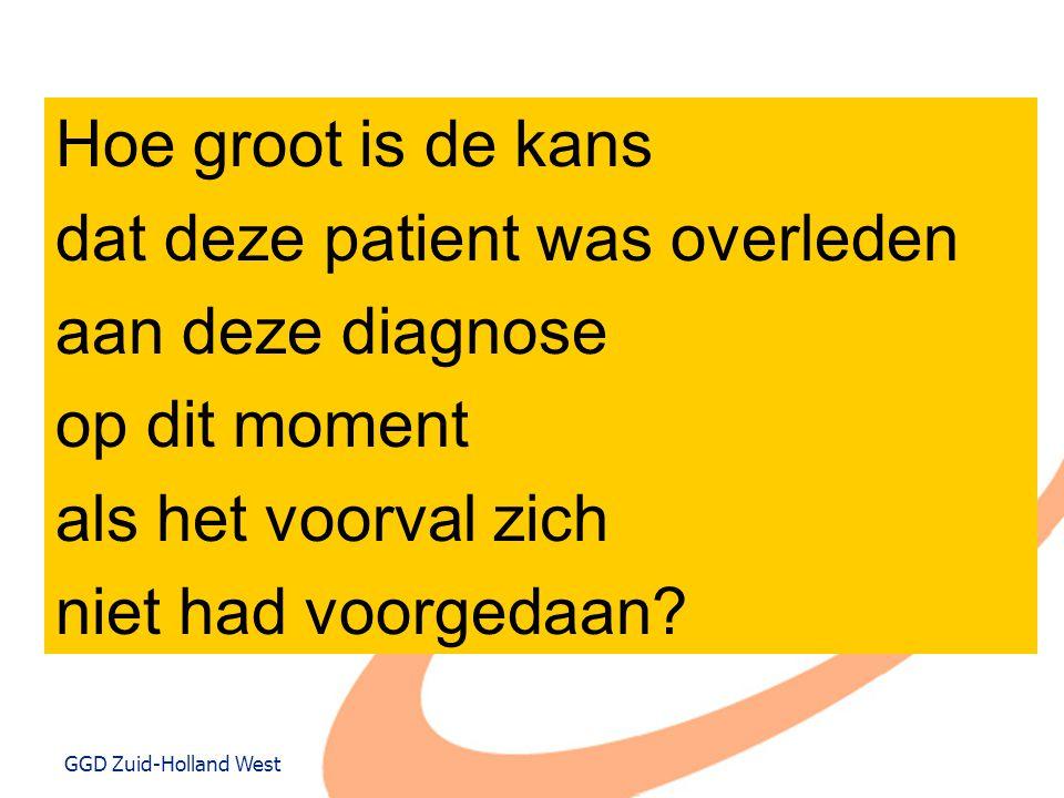 GGD Zuid-Holland West Hoe groot is de kans dat deze patient was overleden aan deze diagnose op dit moment als het voorval zich niet had voorgedaan?