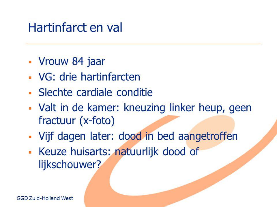 GGD Zuid-Holland West Hartinfarct en val  Vrouw 84 jaar  VG: drie hartinfarcten  Slechte cardiale conditie  Valt in de kamer: kneuzing linker heup