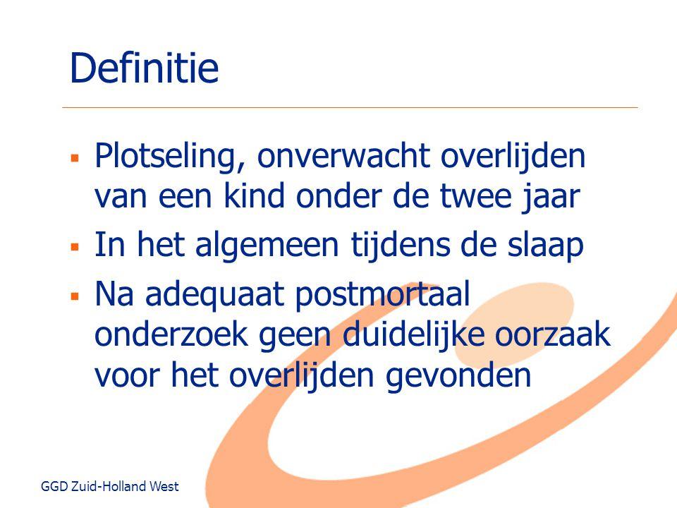 GGD Zuid-Holland West Definitie  Plotseling, onverwacht overlijden van een kind onder de twee jaar  In het algemeen tijdens de slaap  Na adequaat p