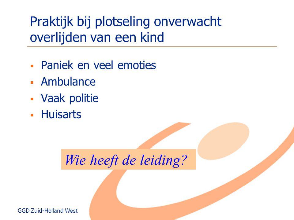 GGD Zuid-Holland West Praktijk bij plotseling onverwacht overlijden van een kind  Paniek en veel emoties  Ambulance  Vaak politie  Huisarts Wie he