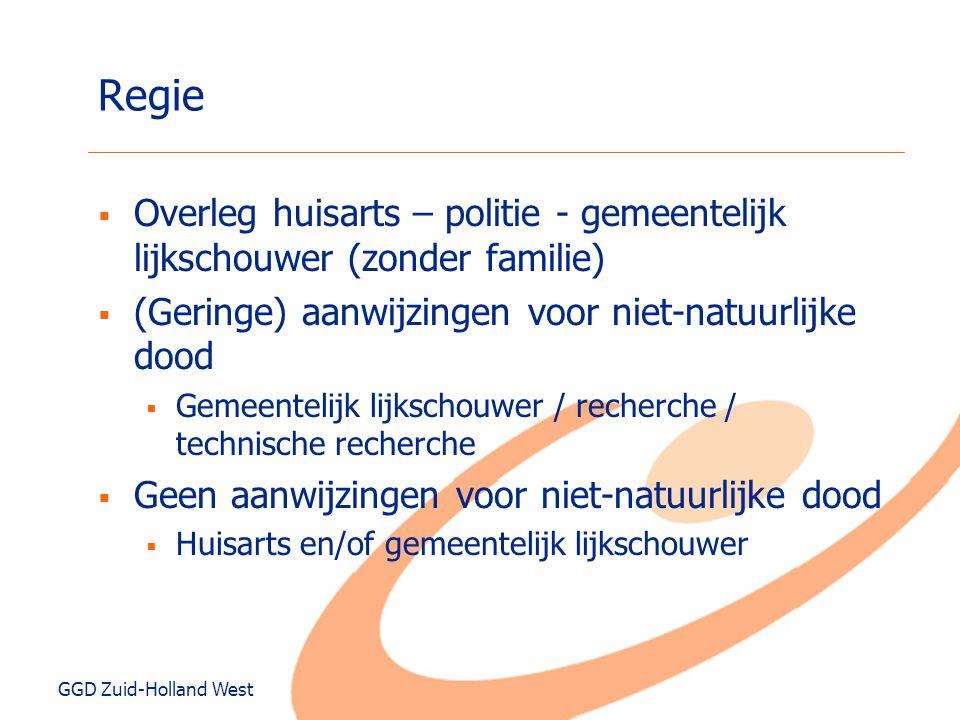 GGD Zuid-Holland West Regie  Overleg huisarts – politie - gemeentelijk lijkschouwer (zonder familie)  (Geringe) aanwijzingen voor niet-natuurlijke d