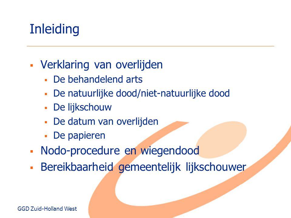 GGD Zuid-Holland West Werkwijze (waarnemend) huisarts  Na melding overlijden  Huisbezoek  Dood vaststellen  Ondersteuning nabestaanden  Overtuigd natuurlijk overlijden.