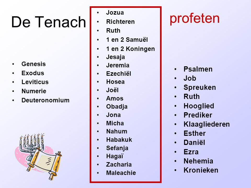De Tenach Genesis Exodus Leviticus Numerie Deuteronomium Jozua Richteren Ruth 1 en 2 Samuël 1 en 2 Koningen Jesaja Jeremia Ezechiël Hosea Joël Amos Ob