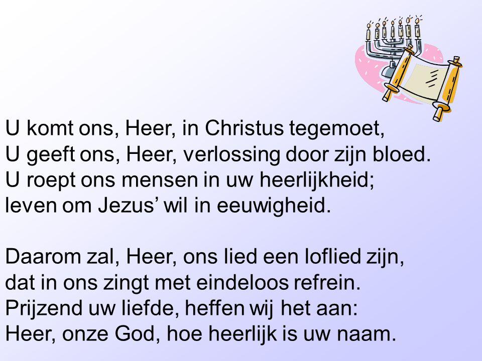 U komt ons, Heer, in Christus tegemoet, U geeft ons, Heer, verlossing door zijn bloed. U roept ons mensen in uw heerlijkheid; leven om Jezus' wil in e