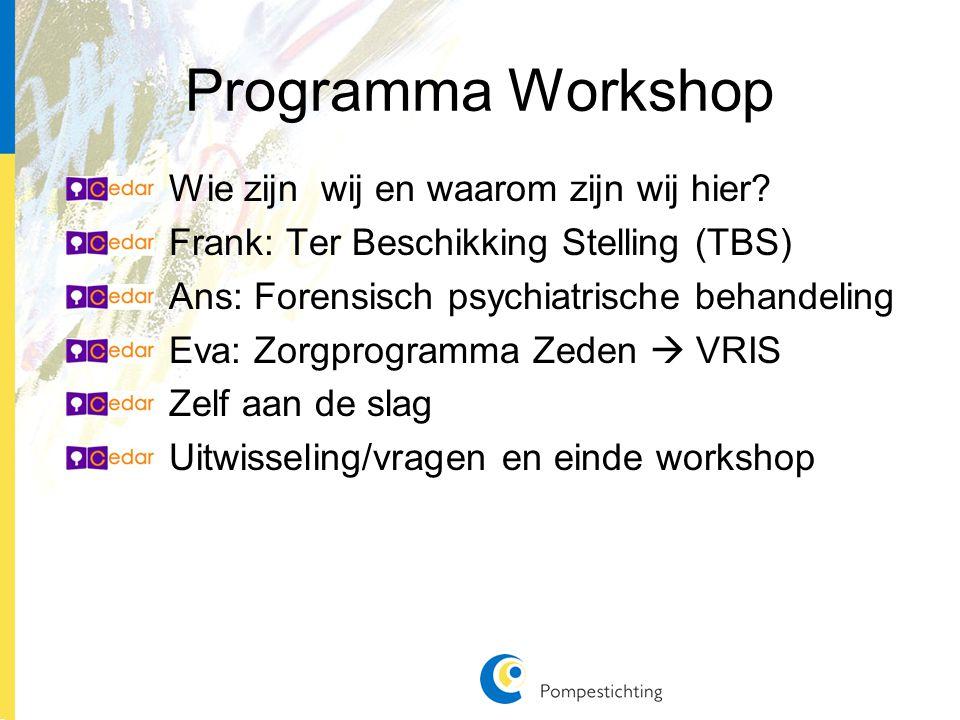 Programma Workshop Wie zijn wij en waarom zijn wij hier.