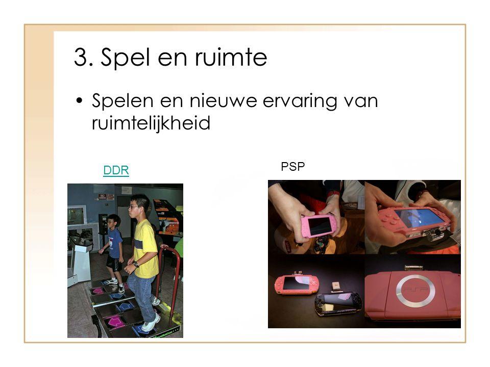 3. Spel en ruimte Spelen en nieuwe ervaring van ruimtelijkheid DDR PSP