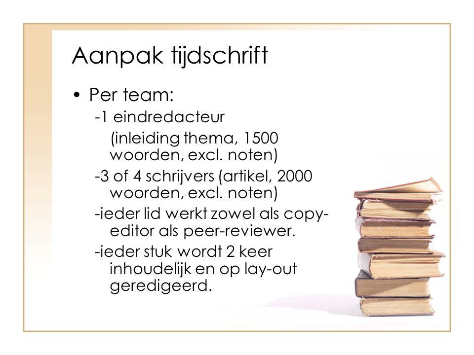 Aanpak tijdschrift Per team: -1 eindredacteur (inleiding thema, 1500 woorden, excl.