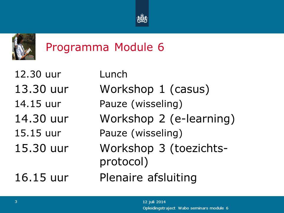 14 Samenvatting Modules 1-5 Opleidingstraject Wabo seminars module 6 Voor de WaboNa de Wabo Meerdere lokettenEén loket (gemeente) Div.