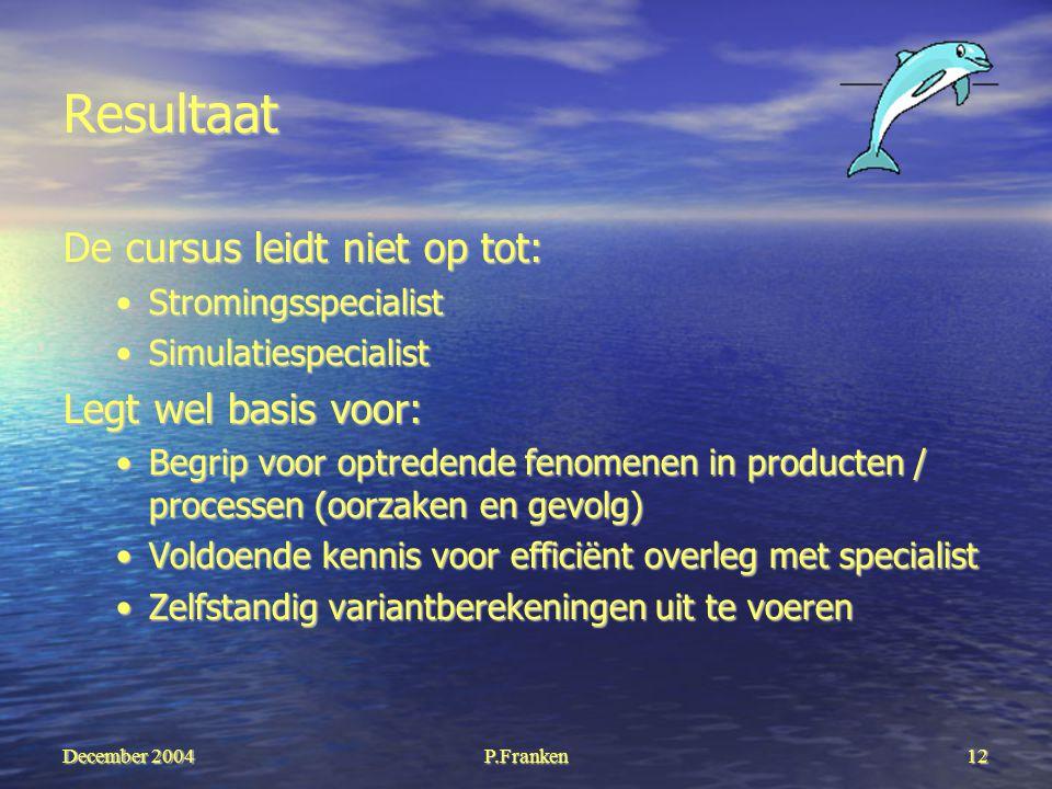 December 2004 P.Franken12 Resultaat De cursus leidt niet op tot: StromingsspecialistStromingsspecialist SimulatiespecialistSimulatiespecialist Legt we