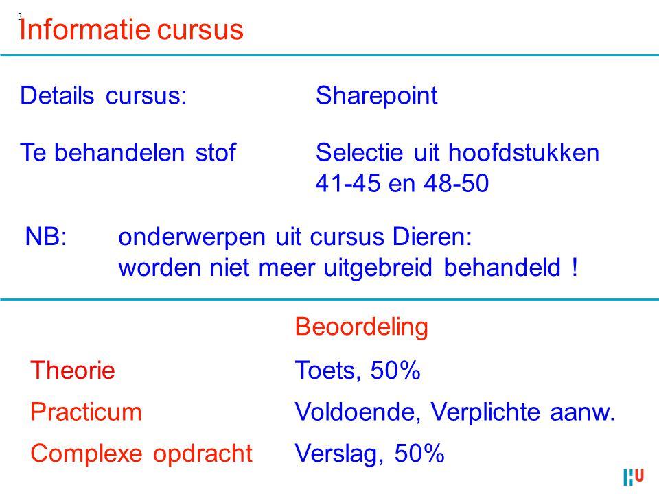 3 Informatie cursus Details cursus:Sharepoint Te behandelen stofSelectie uit hoofdstukken 41-45 en 48-50 NB:onderwerpen uit cursus Dieren: worden niet
