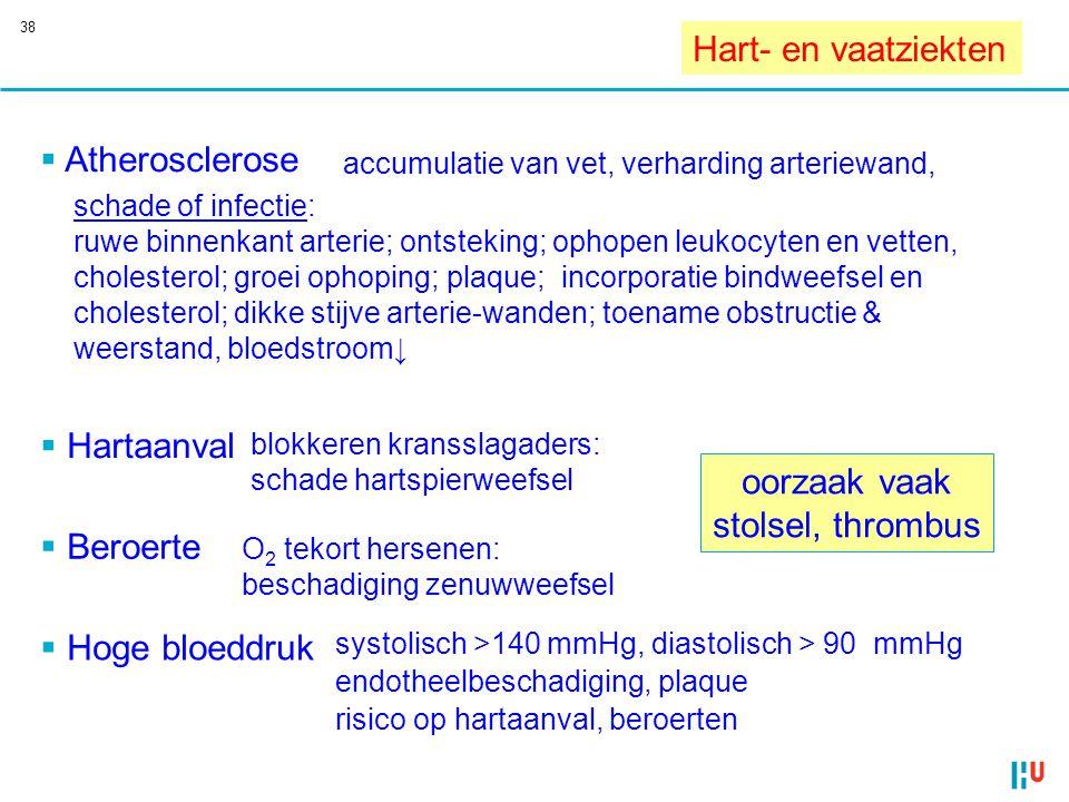 38 Hart- en vaatziekten  Atherosclerose accumulatie van vet, verharding arteriewand, schade of infectie: ruwe binnenkant arterie; ontsteking; ophopen