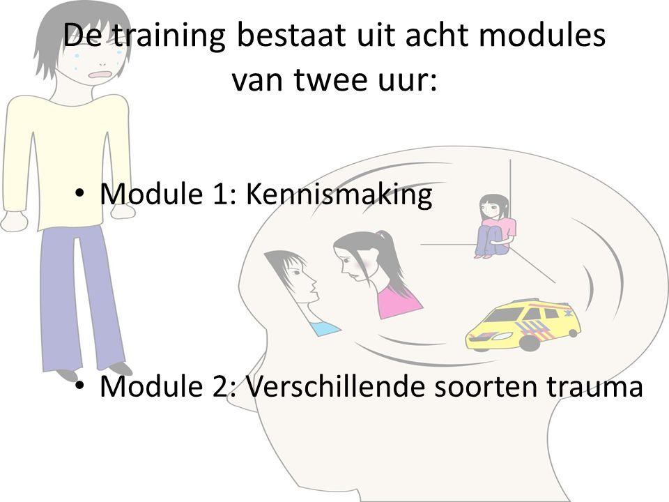 De training bestaat uit acht modules van twee uur: Module 1: Kennismaking Module 2: Verschillende soorten trauma