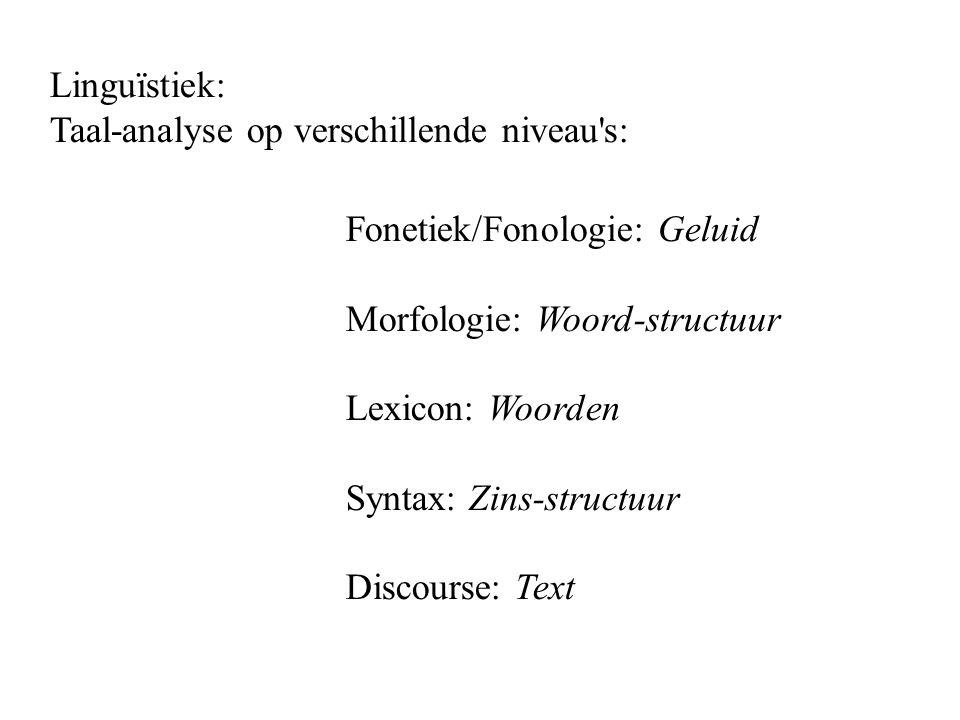 Linguïstiek: Taal-analyse op verschillende niveau s: Fonetiek/Fonologie: Geluid Morfologie: Woord-structuur Lexicon: Woorden Syntax: Zins-structuur Discourse: Text