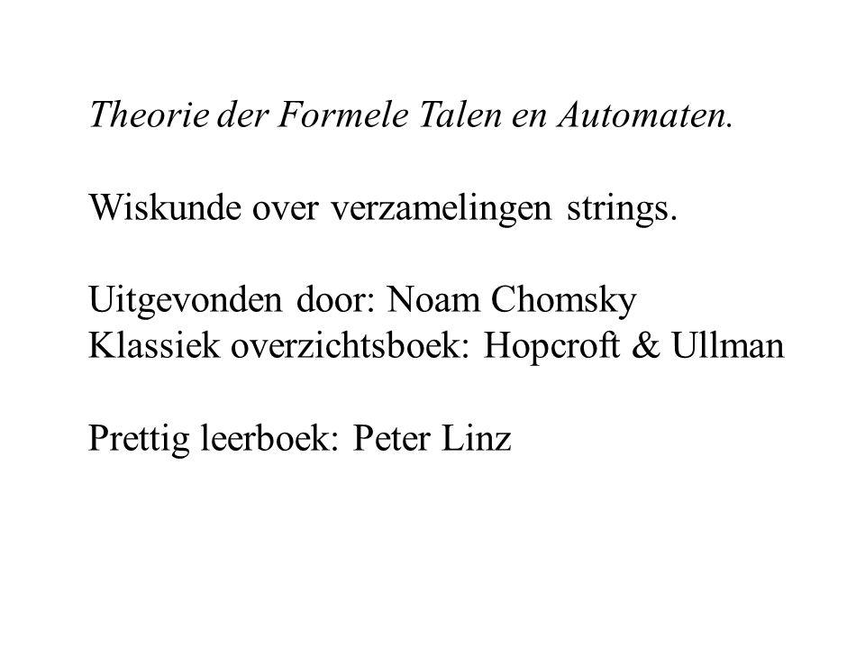 Theorie der Formele Talen en Automaten. Wiskunde over verzamelingen strings.