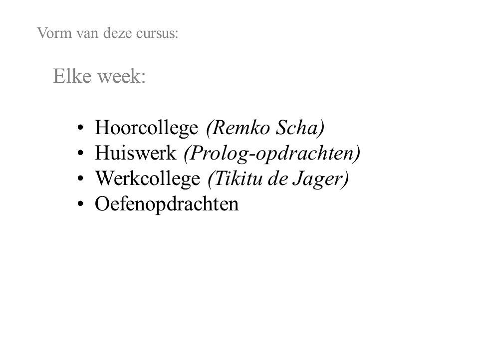 Vorm van deze cursus: Elke week: Hoorcollege (Remko Scha) Huiswerk (Prolog-opdrachten) Werkcollege (Tikitu de Jager) Oefenopdrachten Ingangseis: Enige vaardigheid in Prolog programmeren