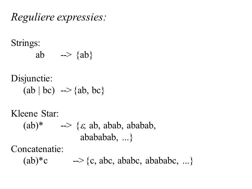 Reguliere expressies: Strings: ab --> {ab} Disjunctie: (ab | bc)-->{ab, bc} Kleene Star: (ab)*--> { , ab, abab, ababab, abababab,...} Concatenatie: (ab)*c-->{c, abc, ababc, abababc,...}