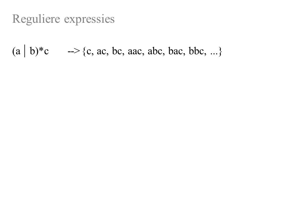 Reguliere expressies (a | b)*c-->{c, ac, bc, aac, abc, bac, bbc,...}