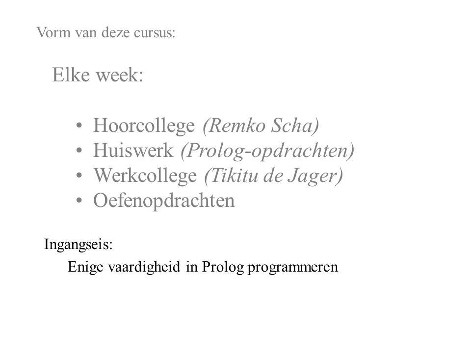 Vorm van deze cursus: Elke week: Hoorcollege (Remko Scha) Huiswerk (Prolog-opdrachten) Werkcollege (Wouter Josemans) Oefenopdrachten Ingangseis: Enige vaardigheid in Prolog programmeren Niet: Andere vakken.