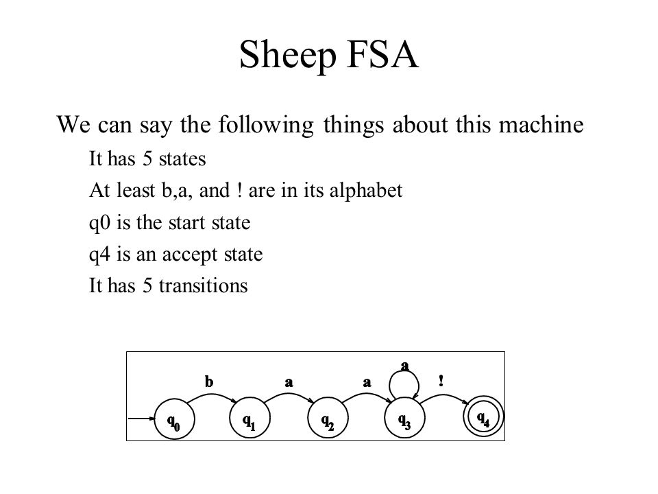 Sheep FSA We can say the following things about this machine It has 5 states At least b,a, and .