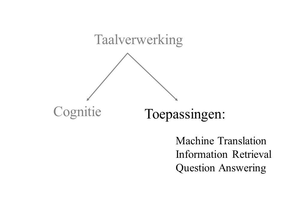 Cognitie Toepassingen: Machine Translation Information Retrieval Question Answering Taalverwerking
