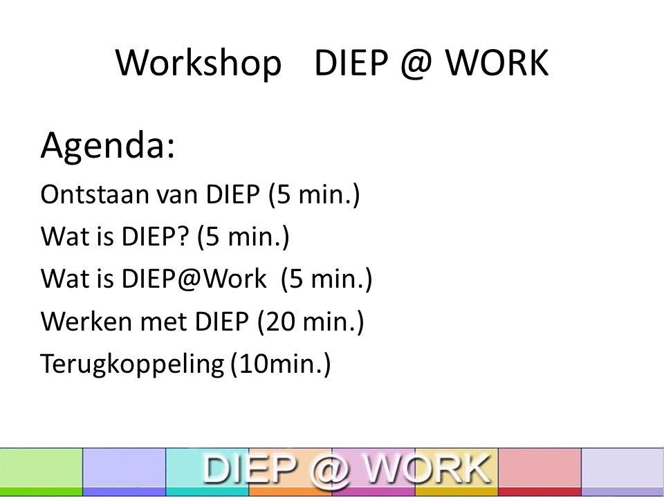 Workshop DIEP @ WORK Agenda: Ontstaan van DIEP (5 min.) Wat is DIEP.