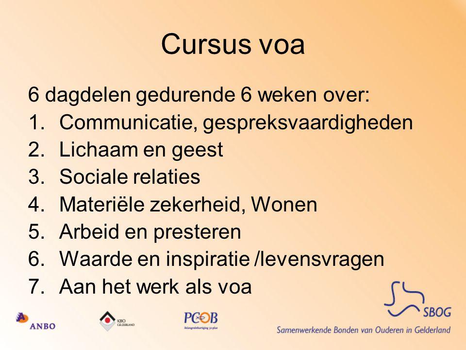Cursus voa 6 dagdelen gedurende 6 weken over: 1.Communicatie, gespreksvaardigheden 2.Lichaam en geest 3.Sociale relaties 4.Materiële zekerheid, Wonen 5.Arbeid en presteren 6.Waarde en inspiratie /levensvragen 7.Aan het werk als voa