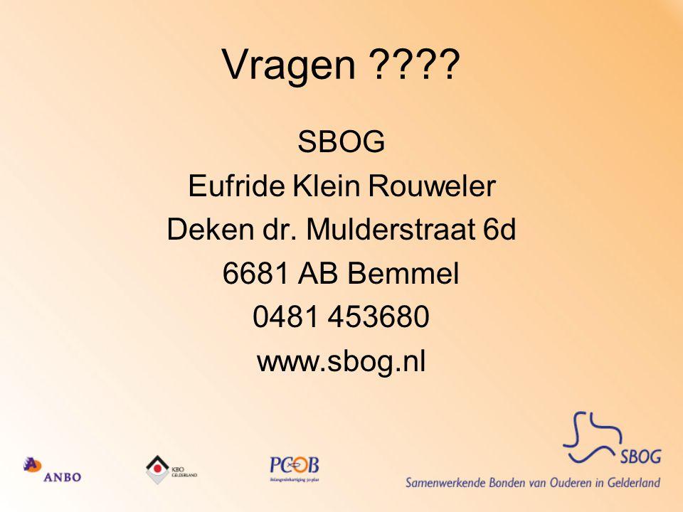 Vragen ???.SBOG Eufride Klein Rouweler Deken dr.