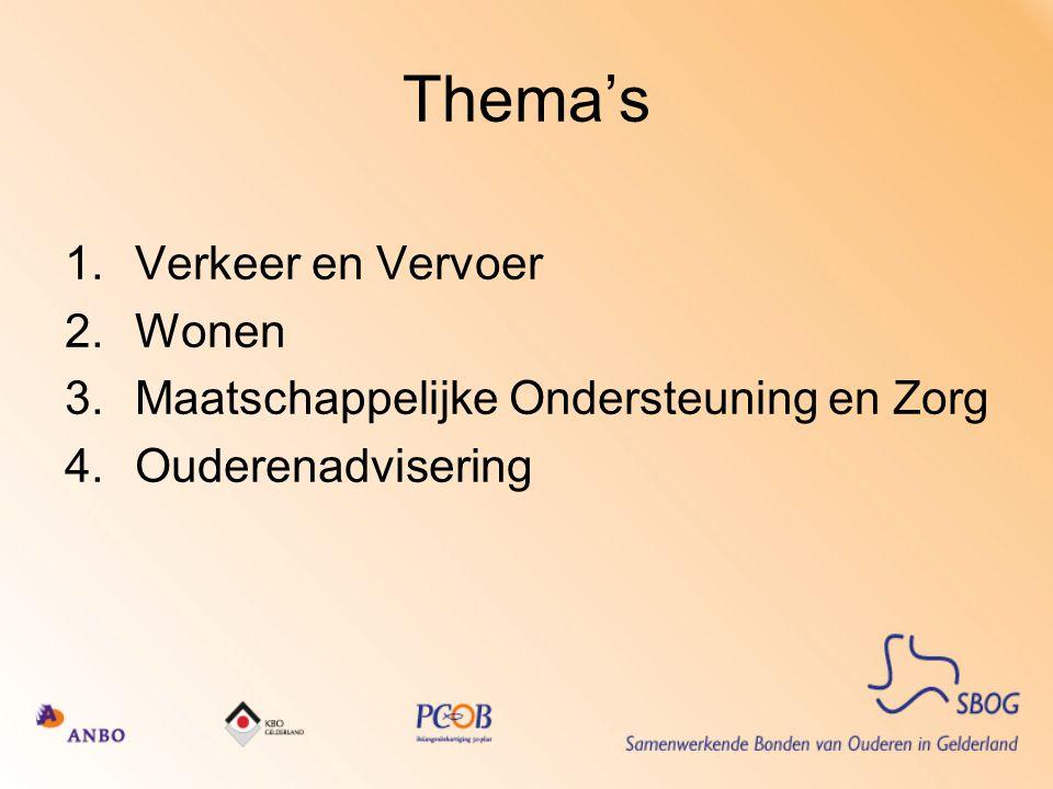 Thema's 1.Verkeer en Vervoer 2.Wonen 3.Maatschappelijke Ondersteuning en Zorg 4.Ouderenadvisering
