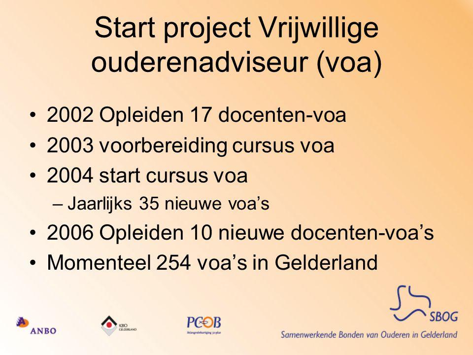 Start project Vrijwillige ouderenadviseur (voa) 2002 Opleiden 17 docenten-voa 2003 voorbereiding cursus voa 2004 start cursus voa –Jaarlijks 35 nieuwe voa's 2006 Opleiden 10 nieuwe docenten-voa's Momenteel 254 voa's in Gelderland