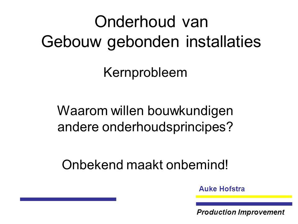 Auke Hofstra Production Improvement Onderhoud van Gebouw gebonden installaties Kernprobleem Waarom willen bouwkundigen andere onderhoudsprincipes.